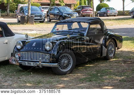 Eyrignac, France - September 2, 2018: Triumph Tr3 Car Parked In Eyrignac In Dordogne. France