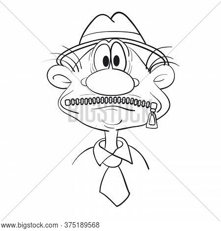 Caricature Of A Man's Head With His Mouth Shut, Sketch, Isolated Object On A White Background, Vecto