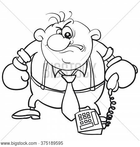 Caricature Of A Man Holding A Phone In Oxer Gloves, Sketch, Isolated Object On A White Background, V