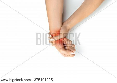 Median Nerve. Carpal Tunnel In Hand Pain. Woman Injury Wrist. Arthritis Office Syndrome Is Consequen