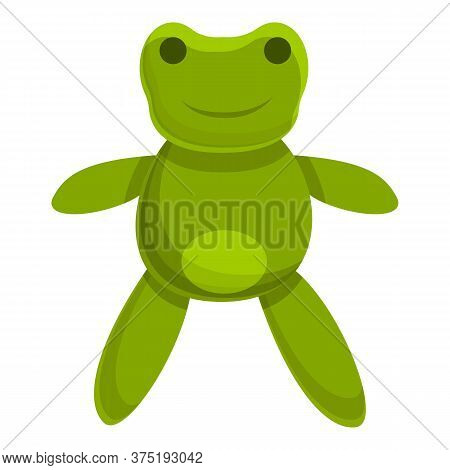Cute Green Frog Doll Icon. Cartoon Of Cute Green Frog Doll Vector Icon For Web Design Isolated On Wh