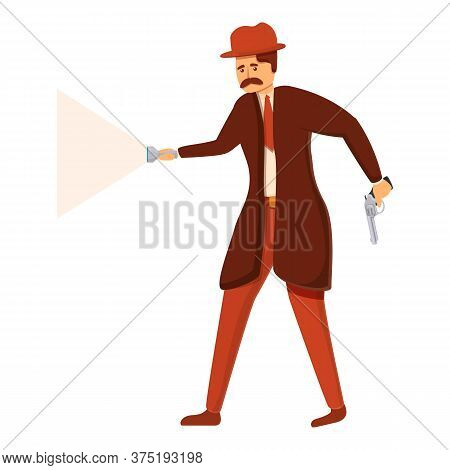 Investigator Action With Flashlight Icon. Cartoon Of Investigator Action With Flashlight Vector Icon