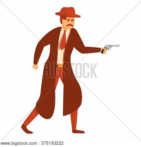 Investigator With Pistol Icon. Cartoon Of Investigator With Pistol Vector Icon For Web Design Isolat