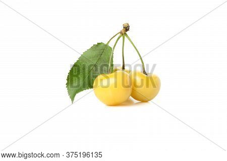Fresh Yellow Cherry Isolated On White Background