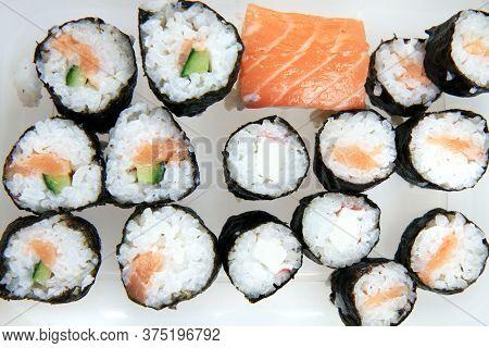 Homemade Sushi Isolated