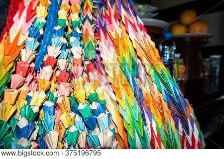 A Thousand Origami Cranes Colorful Paper Decorations In Fukusai-ji Buddhist Temple In Nagasaki, Symb