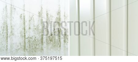 Washing Building Facade With Water Concept. Cleaning Dirty Wall. Washing The Wall. Cleaning The Faca
