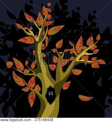 Image Of The Abstract Autumn Tree With Black Hole And Eyes