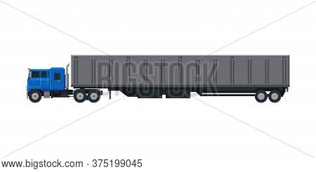 Cargo Trailer Truck, Delivery And Shipping Cargo Vehicle, Side View Flat Vector Illustration On Whit