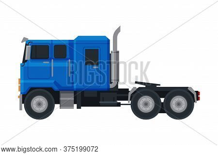 Blue Truck, Side View Of Cargo Delivery Cargo Vehicle Flat Vector Illustration On White Background