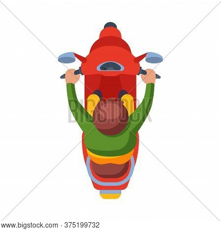 Man Riding Red Scooter, View From Above Flat Vector Illustration