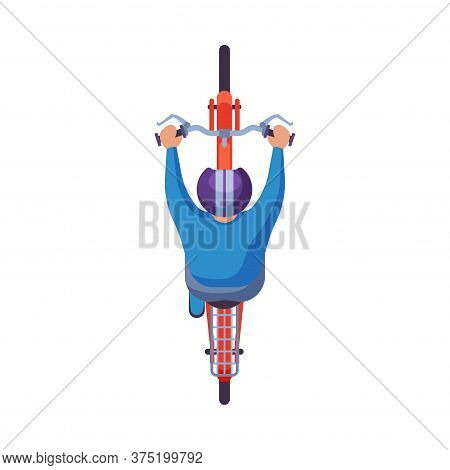 Man In Helmet Riding Bike, View From Above, Cyclist Character On Bicycle Flat Vector Illustration