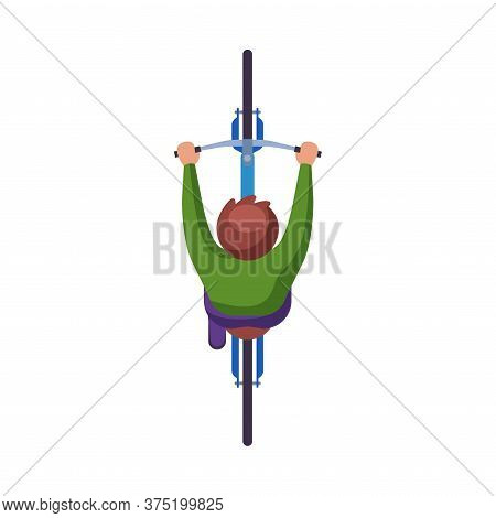Man Riding Bike, View From Above, Cyclist Character On Bicycle, Eco Healthy Lifestyle Flat Vector Il