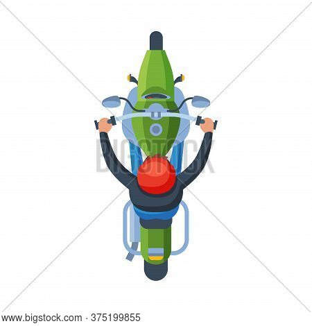 Man In Orange Helmet Riding Motorcycle, View From Above Flat Vector Illustration