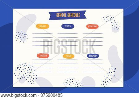 Abstract School Schedule Design Template With Patterns. Vector Template. Calendar Daily Planner. Pap
