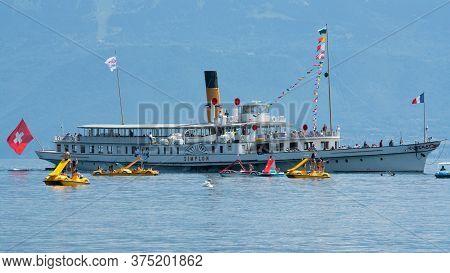 Lausanne Switzerland , 25 June 2020 : Tourists On Simplon Steam Boat Of The Belle Epoque Fleet On Ge