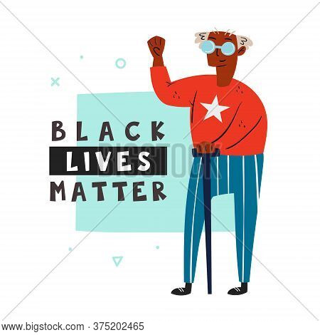 Black Lives Matter. Afro American Old Man With Hand Up. Dark Skin Color. No Racism. Senior. Active S