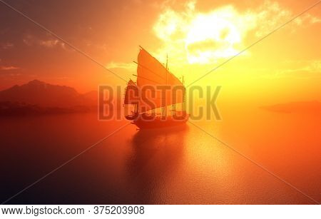 Old boat with sails on a colorful background lanshafty.,3d render