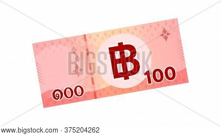 Money 100 Baht Banknote Thai, Bank Note Money Thailand Baht For Business And Finance Icon, Paper Mon