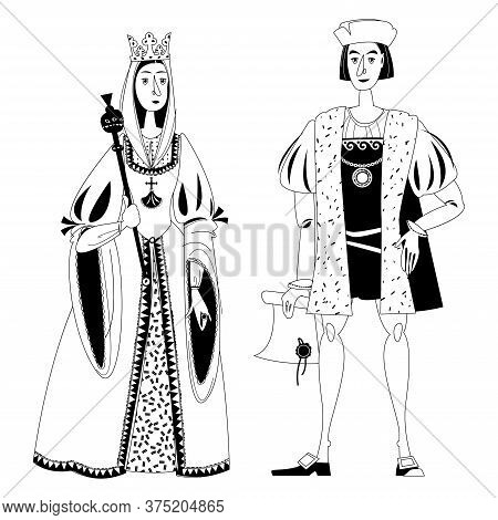 History Of Spain. Famous People. Isabella I Of Castile And Christopher Columbus. Black And White. Ve