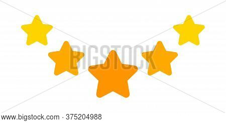 5 Stars Icon Cute Isolated On White, Five Star Shape Yellow Orange, Illustration Simple Star Rating