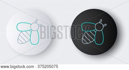 Line Bee Icon Isolated On Grey Background. Sweet Natural Food. Honeybee Or Apis With Wings Symbol. F
