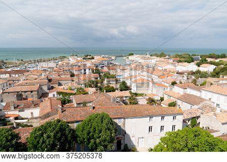 Saint Martin En Re - Ile De Re  Nouvelle Aquitaine / France - 05 03 2019 : Top View Aerial Island Il