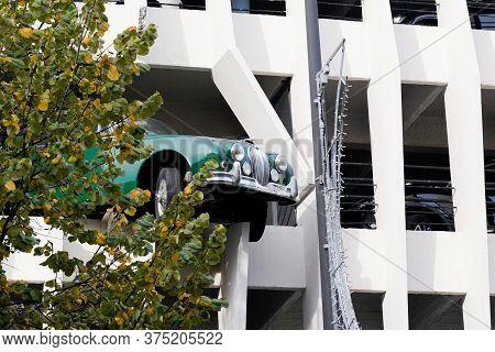Bordeaux , Aquitaine / France - 10 02 2019 : Car Jaguar Crosses The Wall Of The Car Park Victor Hugo
