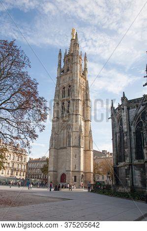 Bordeaux , Aquitaine / France - 10 30 2019 : Bordeaux City Center Square With Saint Pierre Cathedral