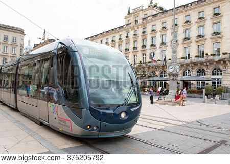 Bordeaux, Aquitaine / France - 06 11 2018 : Bordeaux Tramway Street Front Of Grand Hotel In City Cen