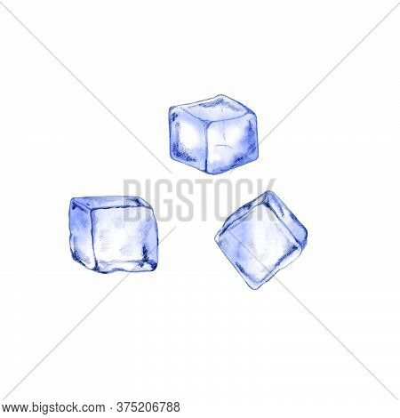 Hand Drawn Ice Cubes For Cocktails, Beverage, Water. Illustration Of Small Piece Of Ice To Cool A Dr