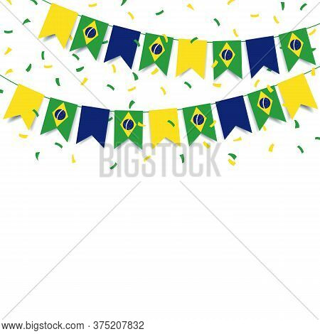 Vector Illustration Of  Brazil Independence Day. Garland With The Flag Of Brazil On A White Backgrou