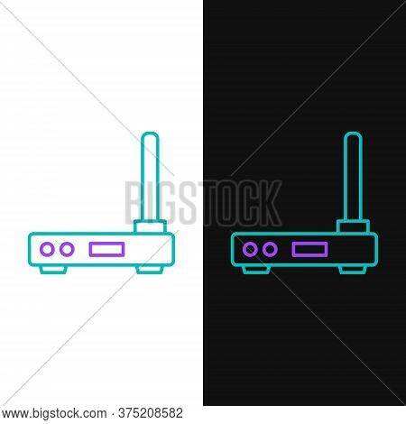 Line Router And Wi-fi Signal Symbol Icon Isolated On White And Black Background. Wireless Ethernet M