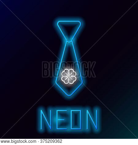 Glowing Neon Line Tie With Four Leaf Clover Icon Isolated On Black Background. Necktie And Neckcloth