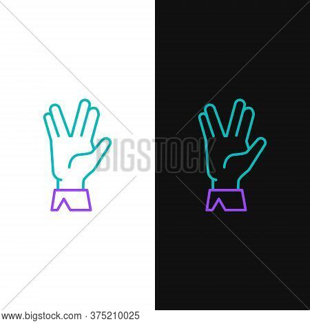 Line Vulcan Salute Icon Isolated On White And Black Background. Hand With Vulcan Greet. Spock Symbol