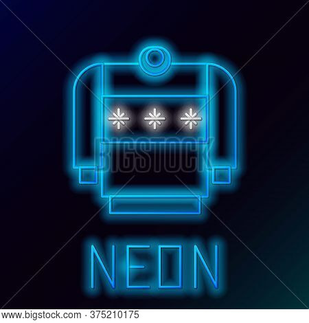 Glowing Neon Line Christmas Sweater With Norwegian Ornaments And Holidays Decorations Icon Isolated