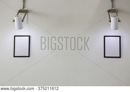 Simply Picture Frame On White Wall, Stock Photo