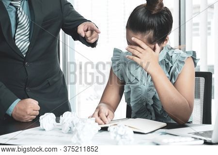 Young Businesswomen Acted With Tired Stress Anxiety From The Frustrated Business Crisis, Paperwork P