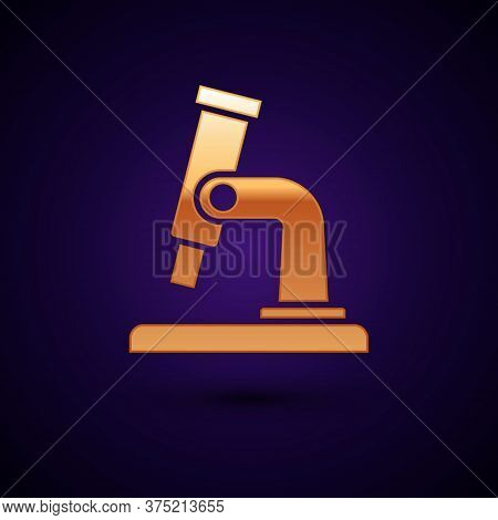 Gold Microscope Icon Isolated On Black Background. Chemistry, Pharmaceutical Instrument, Microbiolog