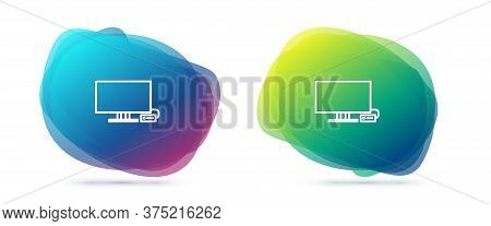 Set Line Smart Tv Icon Isolated On White Background. Television Sign. Abstract Banner With Liquid Sh