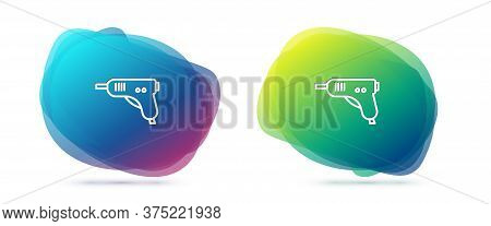 Set Line Electric Hot Glue Gun Icon Isolated On White Background. Hot Pistol Glue. Hot Repair Work A