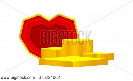 Luxury Pedestal Gold 3d And Red Heart Shape, Gold Pedestal Circle Box For Cosmetics Product Display
