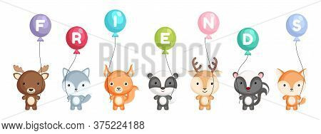 Group Of Cute Animals. Cartoon Animals Stand And Hold Balloons In Their Hands. Set Of Characters Iso