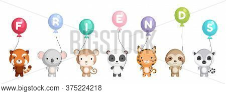 Group Of Cute Animals. World Animals Day. Happy Friendship Day. Cartoon Animals Stand And Hold Ballo
