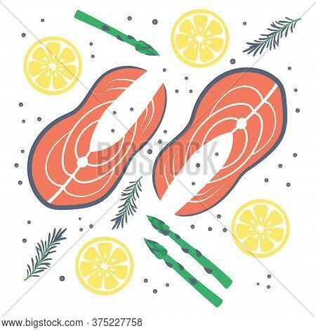 Salmon Steak Fish Isolated On White Background, Vector Illustration, Salmon With Lemon, Asparagus, R