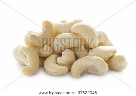 Heap Of Cashew Nuts on white isolated