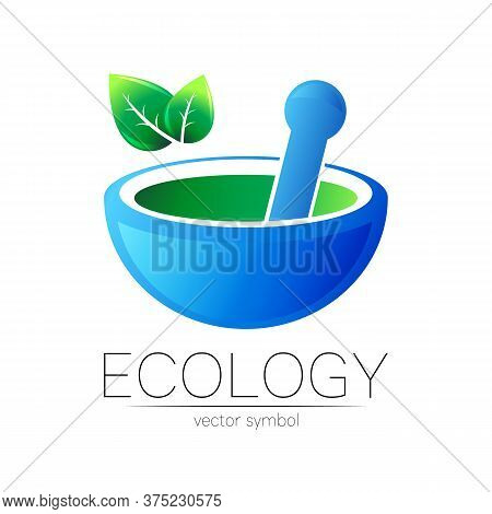 Mortar And Pestle Vector Symbol. Logo Of Nature Herb Illustration. Concept For Ecology, Eco, Organic