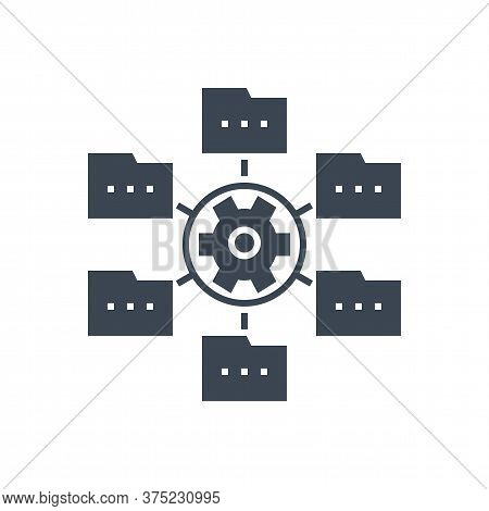 Data Menagement Related Vector Glyph Icon. Isolated On White Background. Vector Illustration.