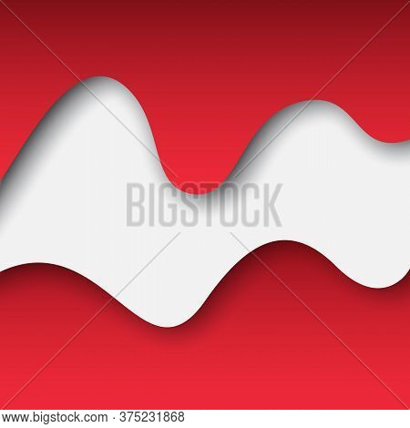 Abstract Waving Flag Austria. Paper Cut. Creative Background For Design Card Of The Austrian Patriot
