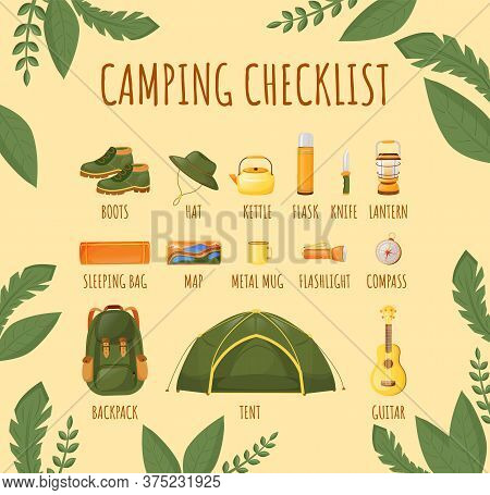 Camping Checklist Flat Color Vector Informational Infographic Template. Essentials. Poster, Booklet,